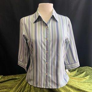 NWT Talbots Button Down Green/Blue Silk Shirt